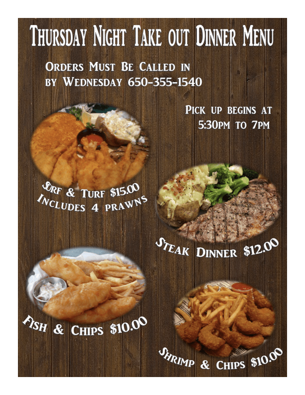 Thursday Night Takeout Dinner @ Pacifica Moose Lodge (rear parking lot)